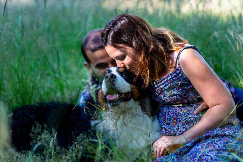Une séance grossesse dans l'herbe avec leur chien