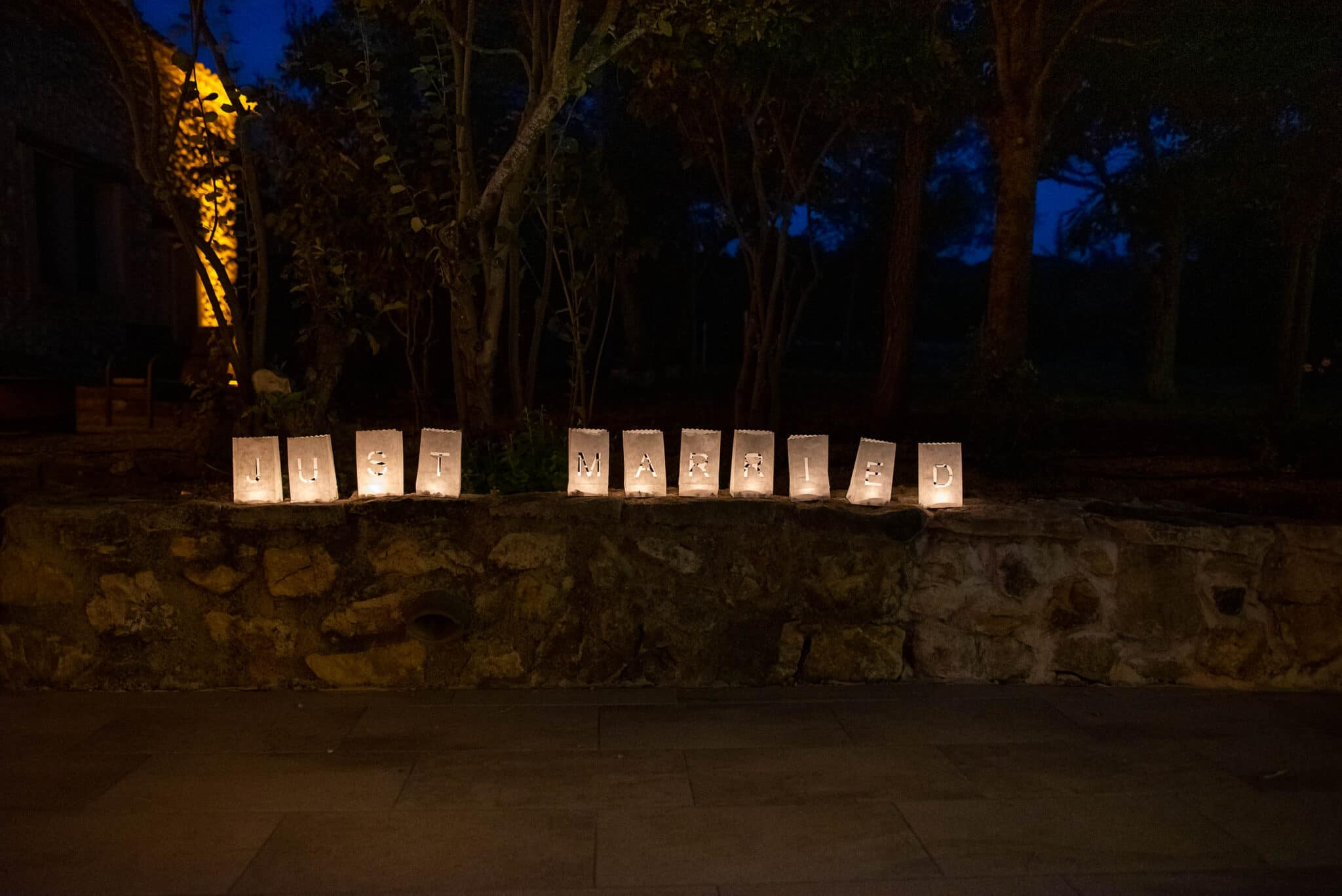 Just Married candle light